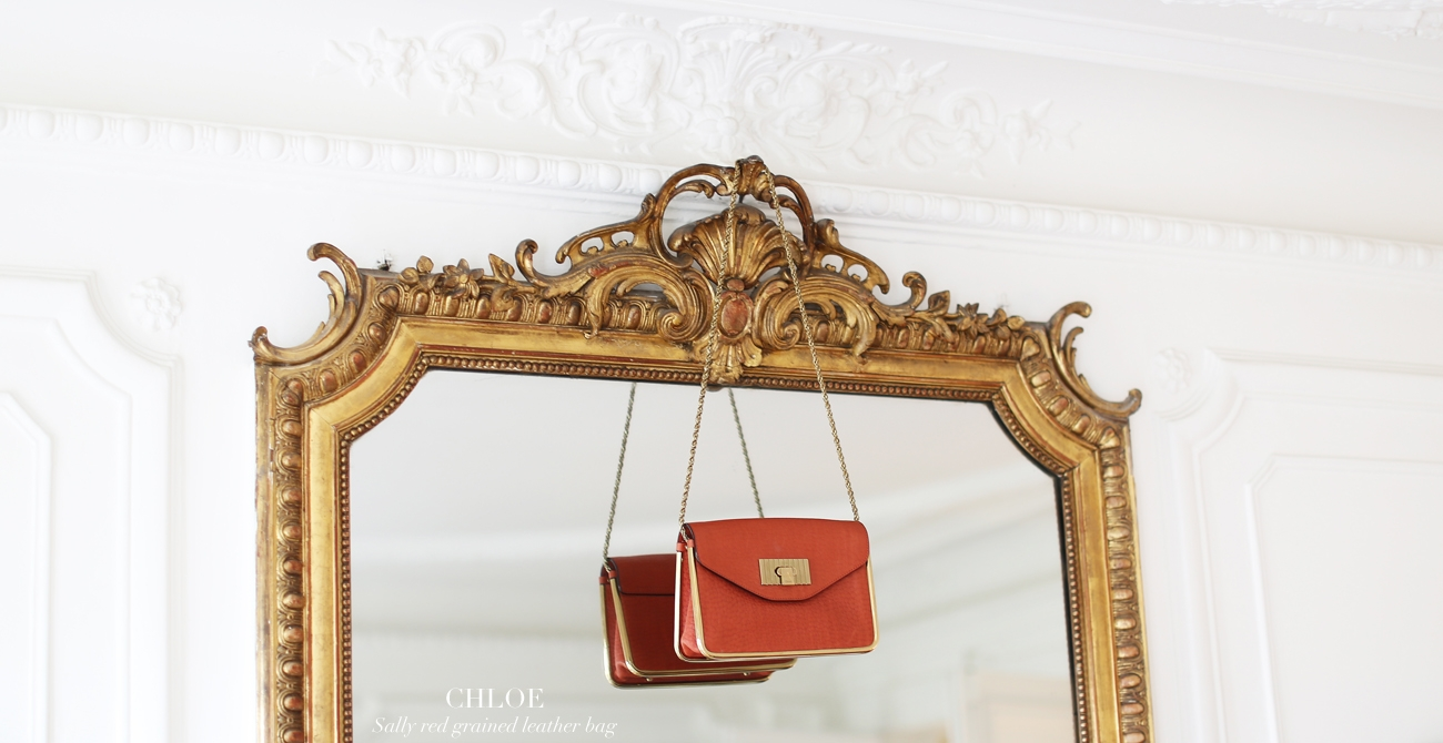 CHLOE SALLY coral red grained leather cross body bag Retail price 1320€ NEW
